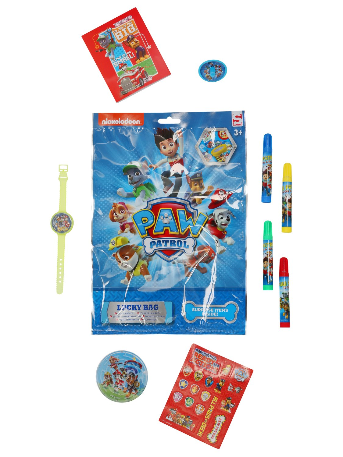 Paw Patrol kids lucky bag including pens stickers puzzle games - Multicolour