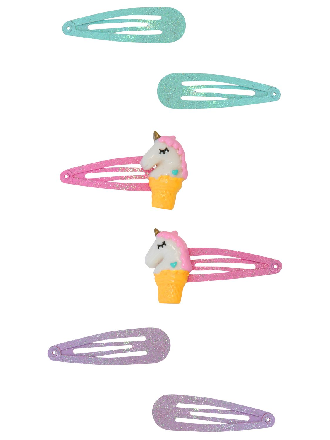 Kids Unicorn hair clips six pack  - Multicolour