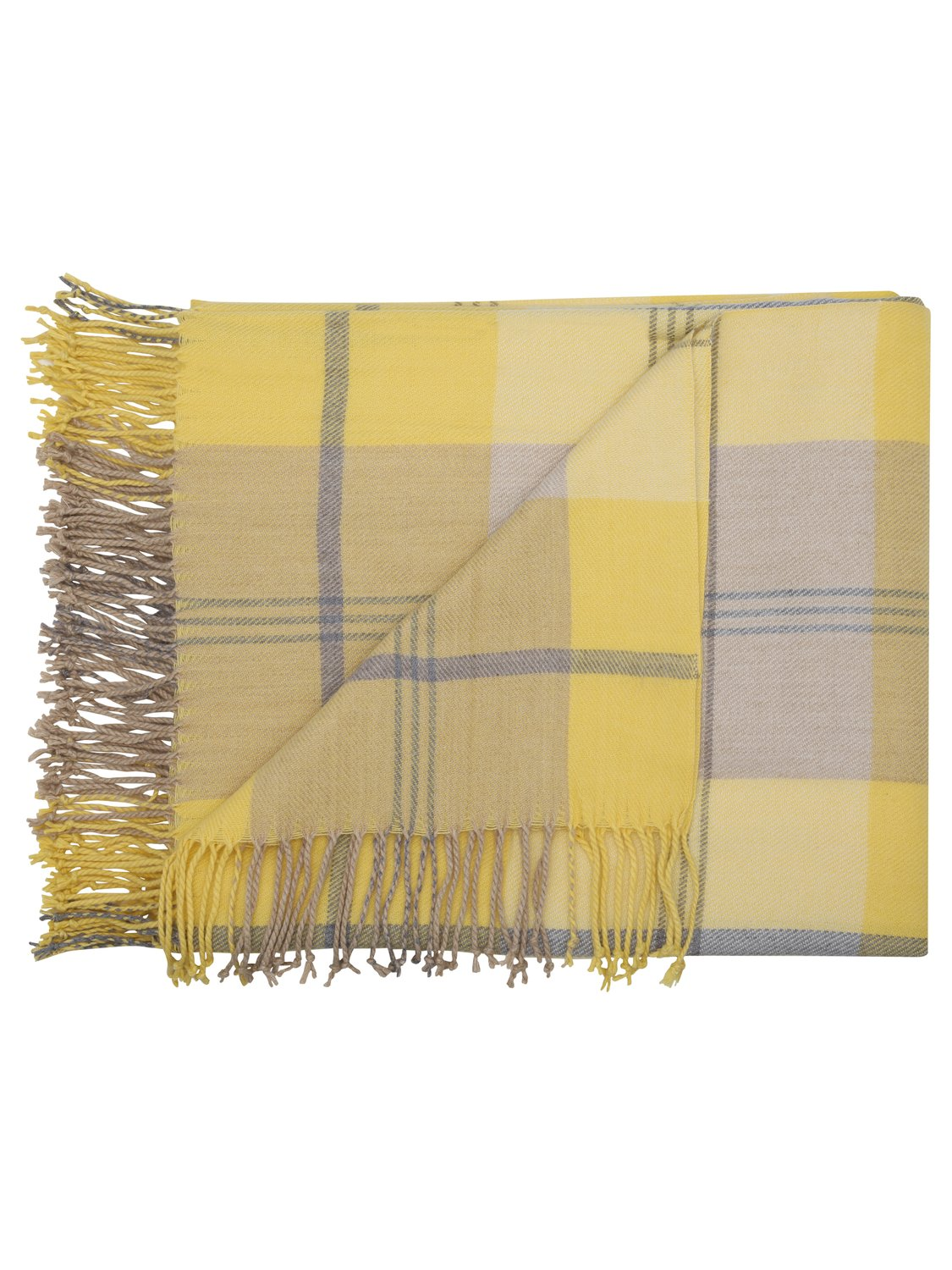 Home ochre yellow check woven throw blanket with tassels - Ochre