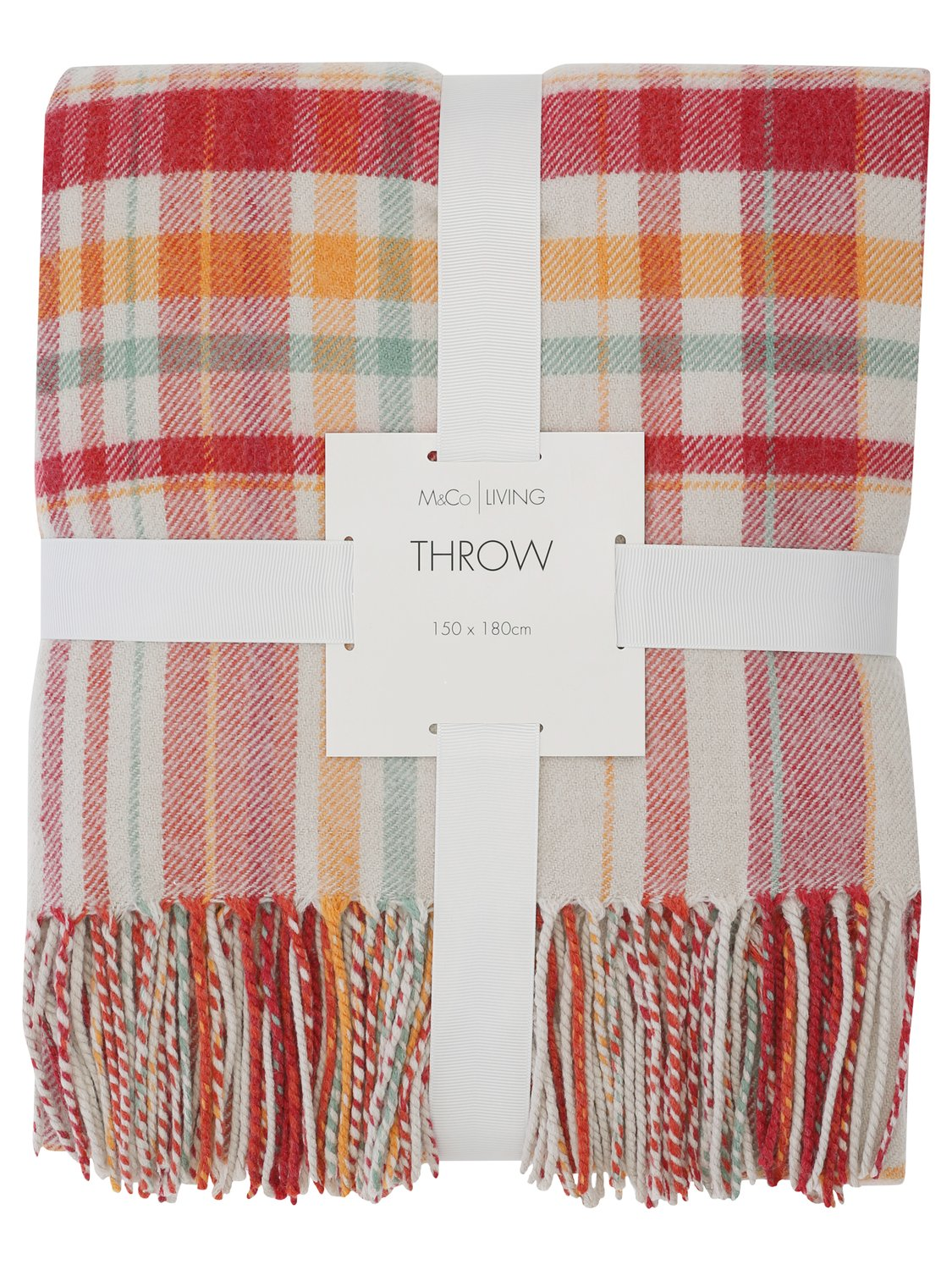 Image of Home checked pattern tartan blanket throw with tassels - Terracotta