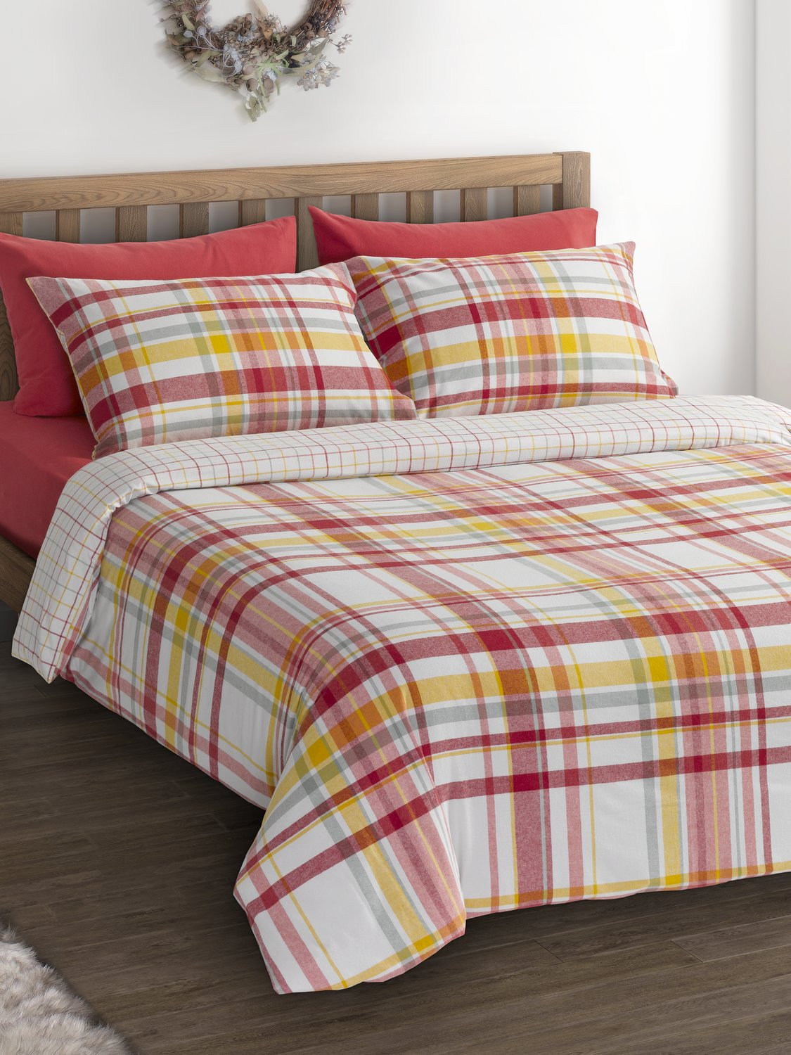 Image of Home 100% brushed cotton autumn check pattern duvet cover pillow set - Terracotta