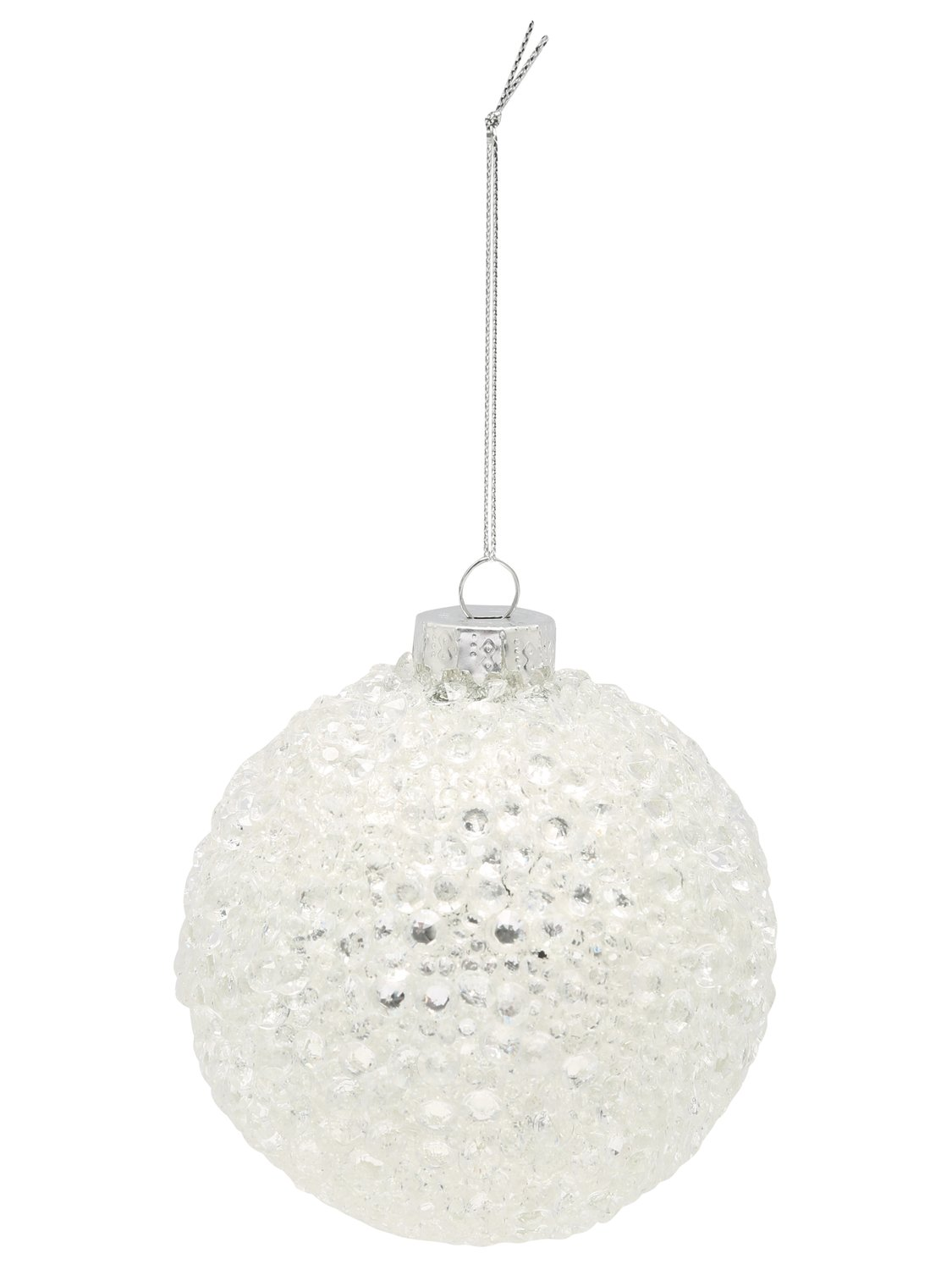 home white sequin christmas tree bauble  - white