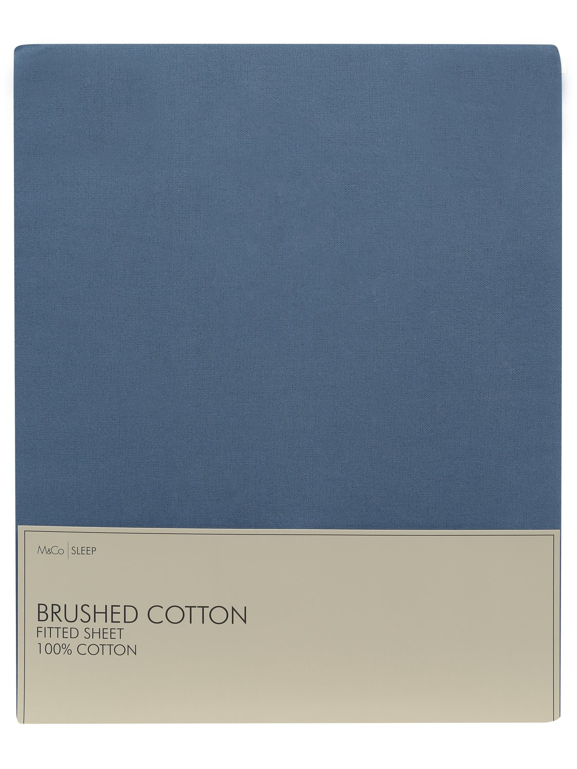 home brushed cotton fitted sheet 100% cotton single to super king size  - denim