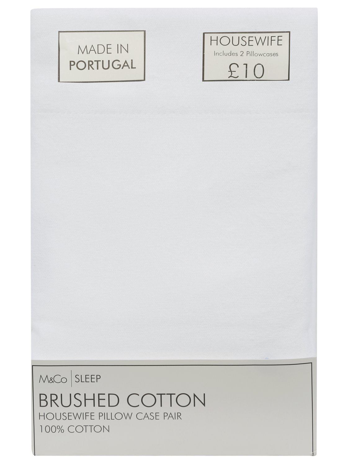 home brushed cotton pillowcase pair 100% cotton pack of two cases  - white