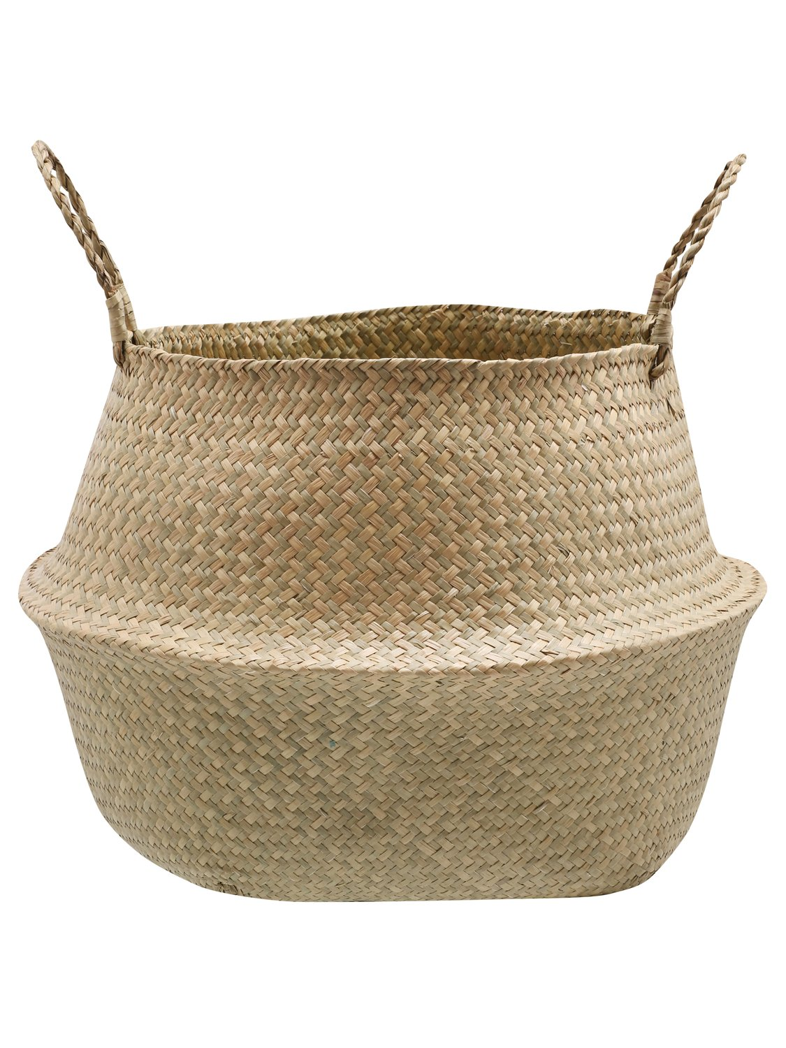 home large natural seagrass woven basket with handles w50cm x h35cm  - natural