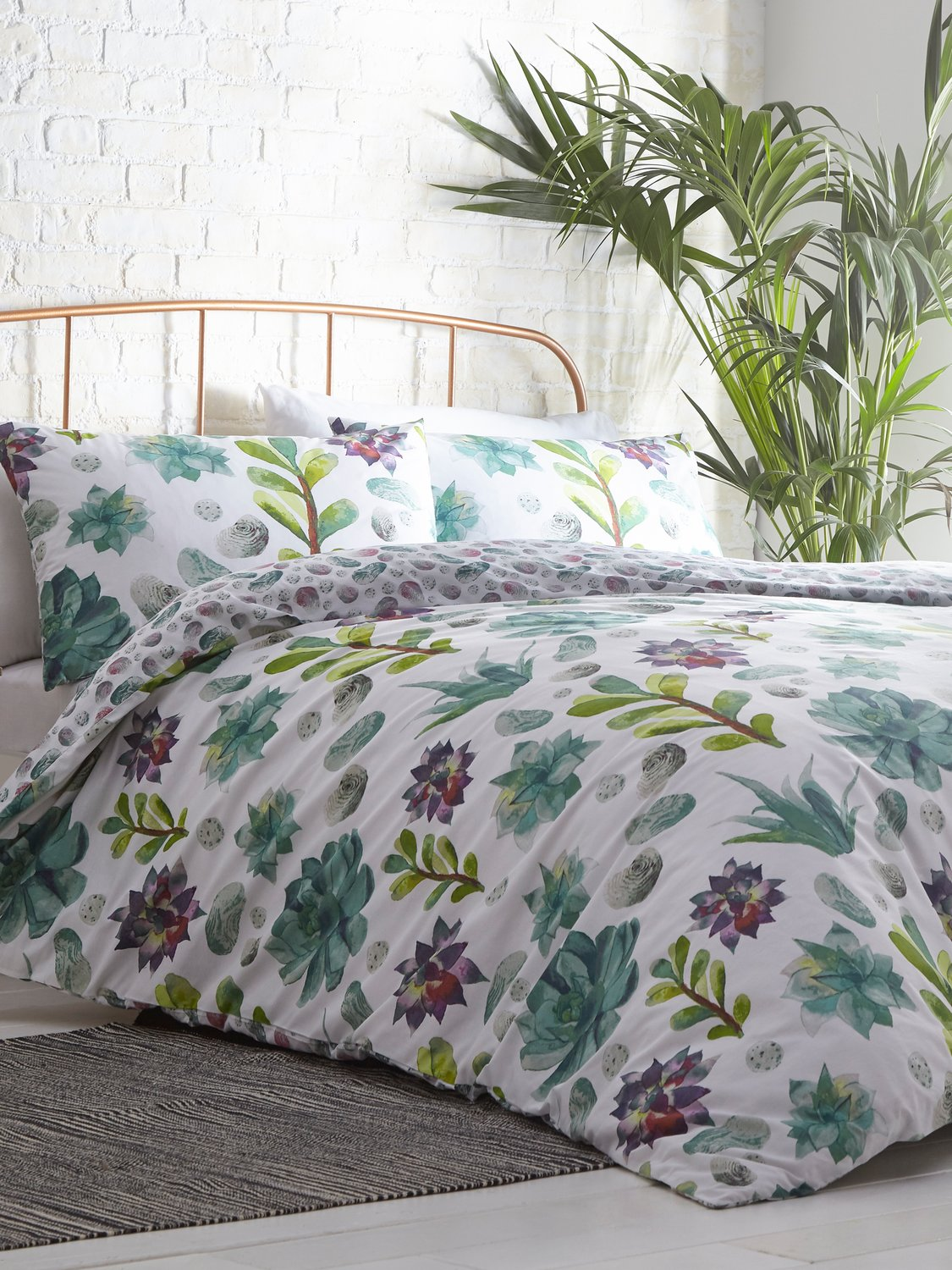 Image of Home floral print duvet set with reversible botanical print purple and green flowers - White