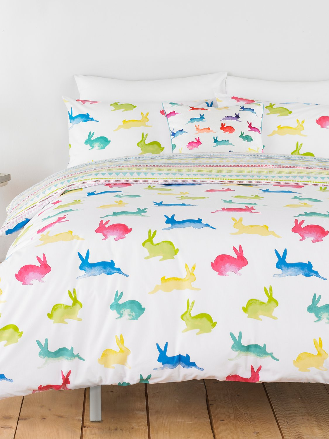 Image of Home Bright Colourful Rabbit Print Duvet Set Easycare Cotton Blend - Multicolour