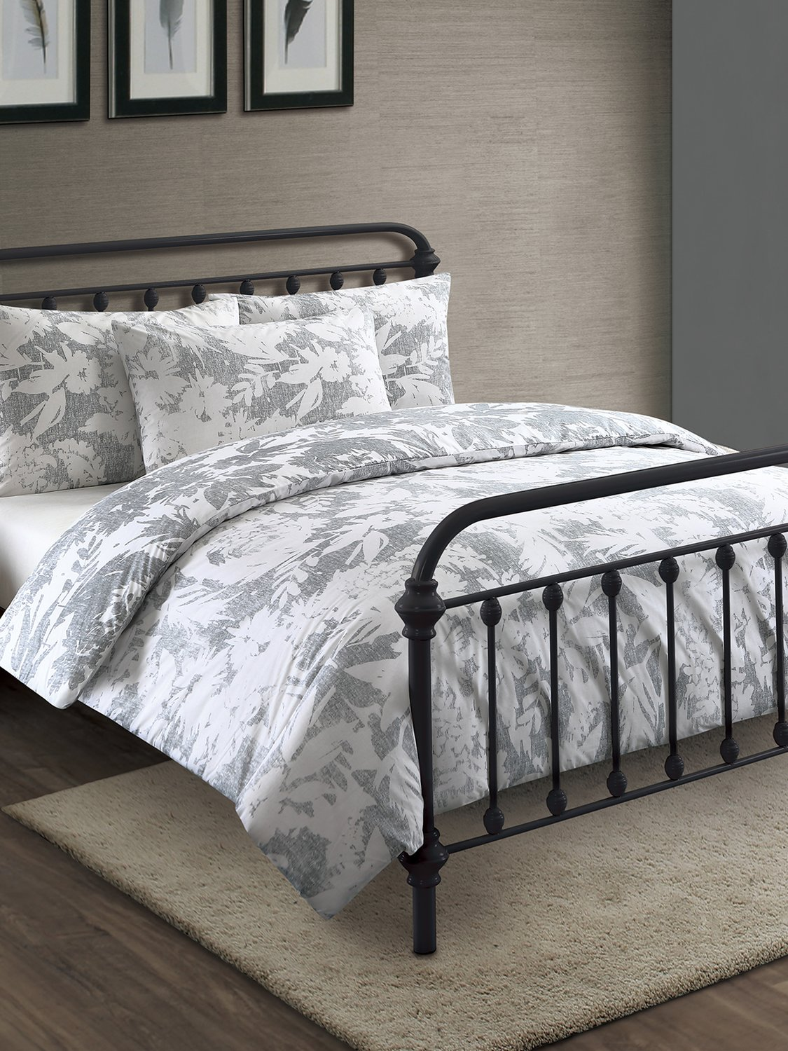 Image of Home botanical shadow duvet set single double king super - Grey
