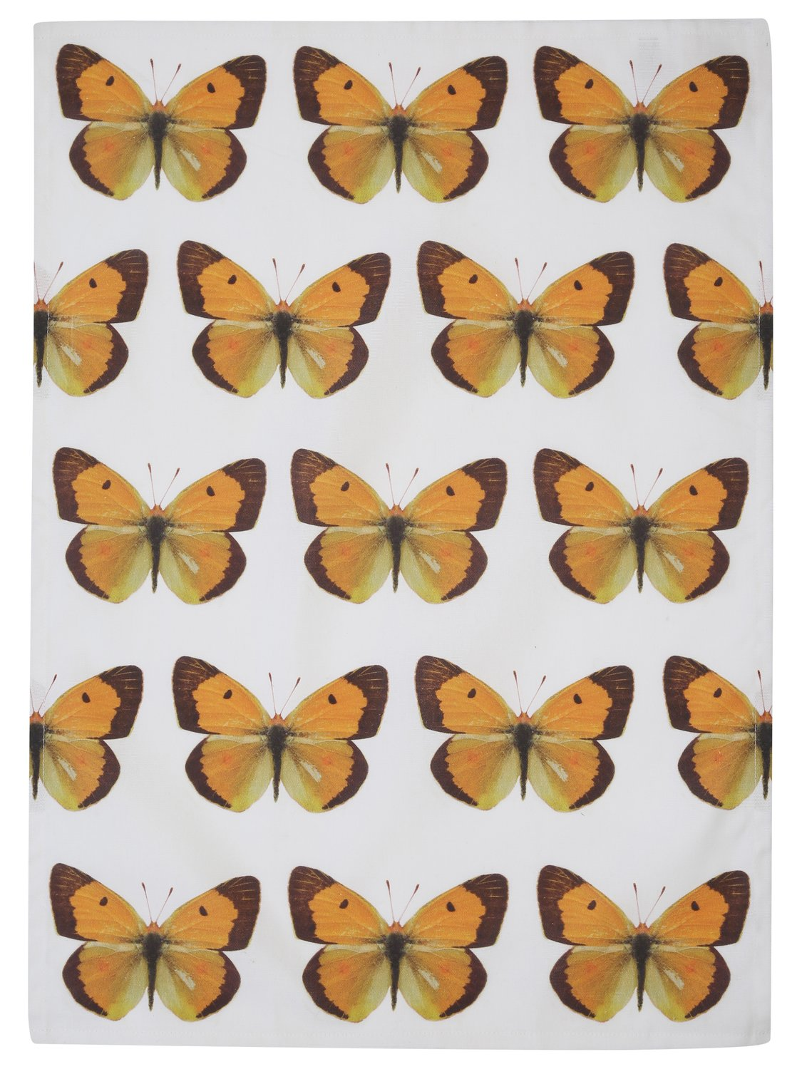 Home butterfly print tea towel absorbent 100% cotton single pack - Yellow