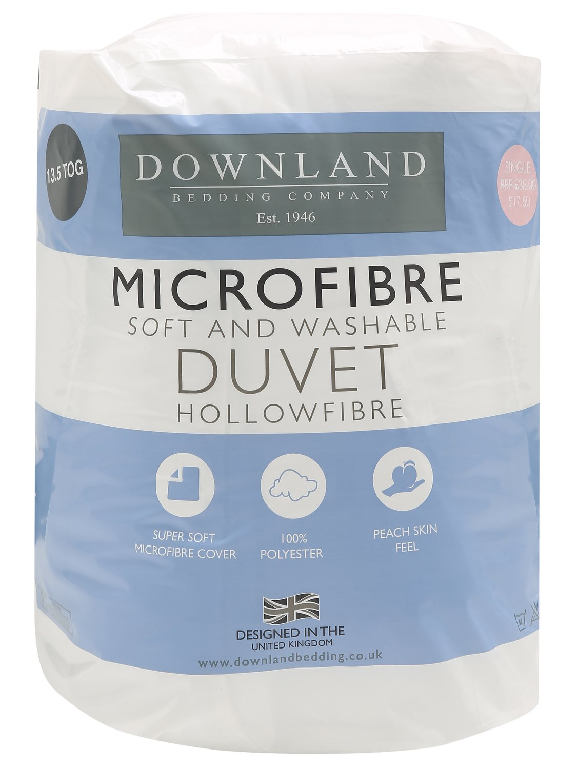winter weight duvet 13.5 tog hollowfibre filling washable  - white