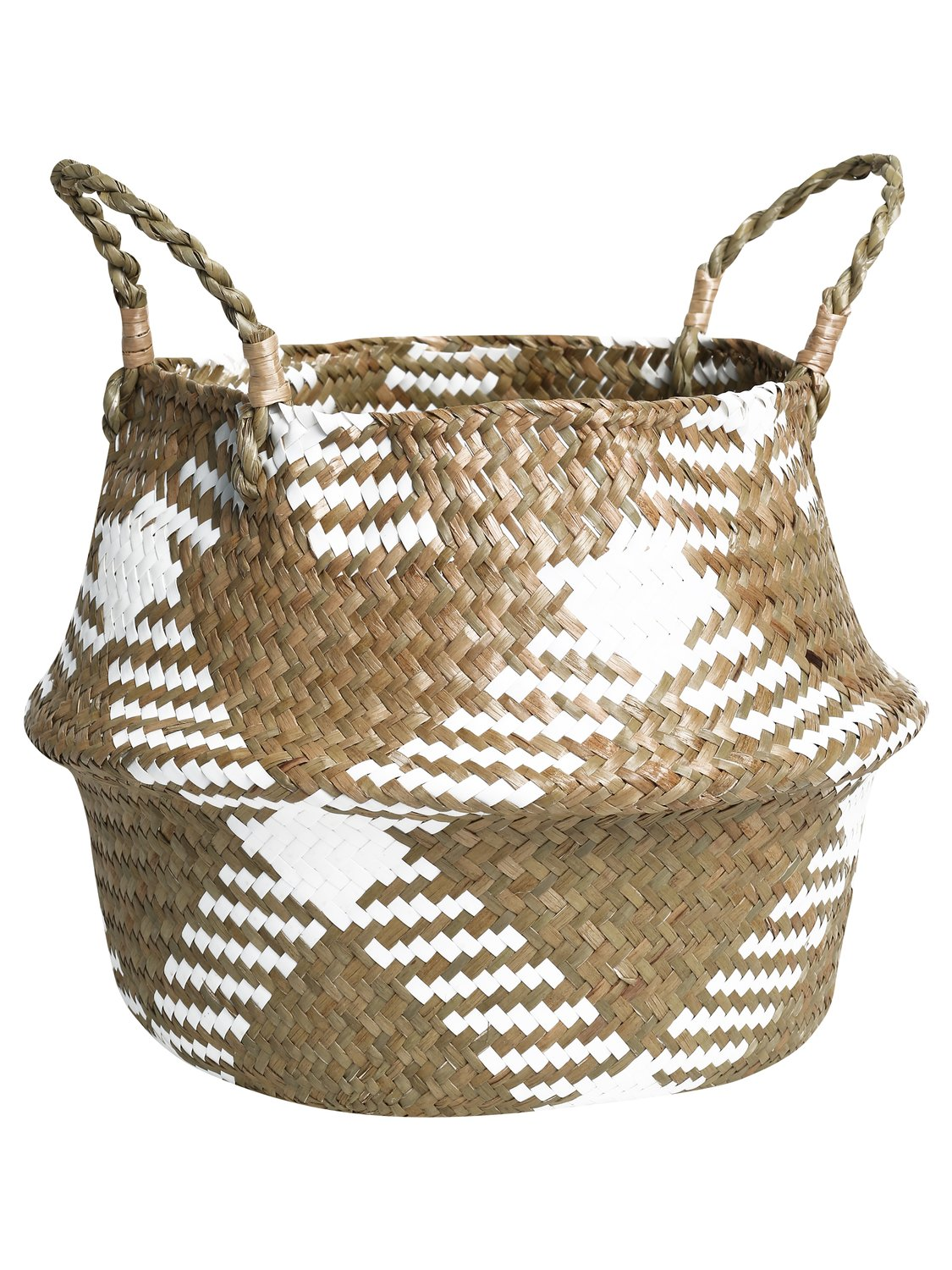 home woven basket check design with handles  - white