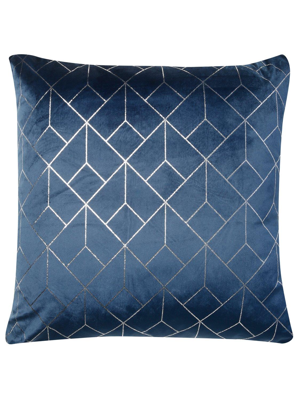 Geometric Print Cushion  - Navy