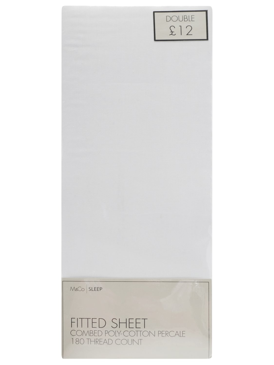 durable 50/50 polycotton fitted sheet - easy iron - single, double, king size  - white