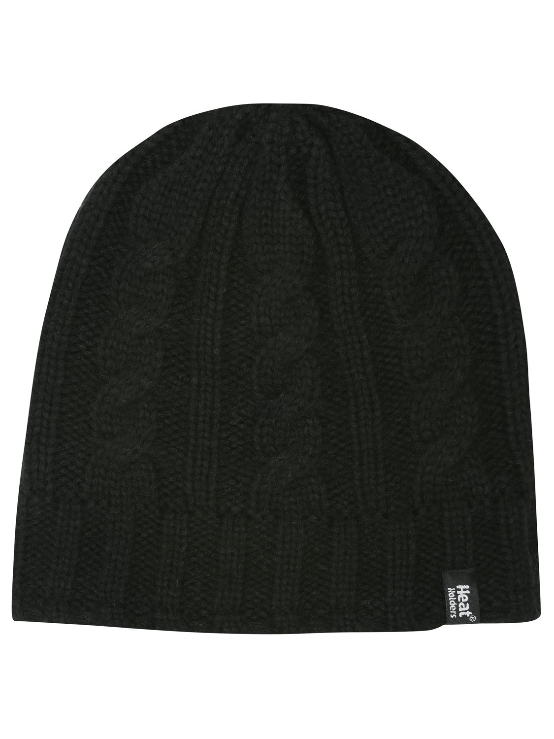 Ladies Cable Knit Thermal Cable Knit Heat Holders Winter Woolly Hat   Black
