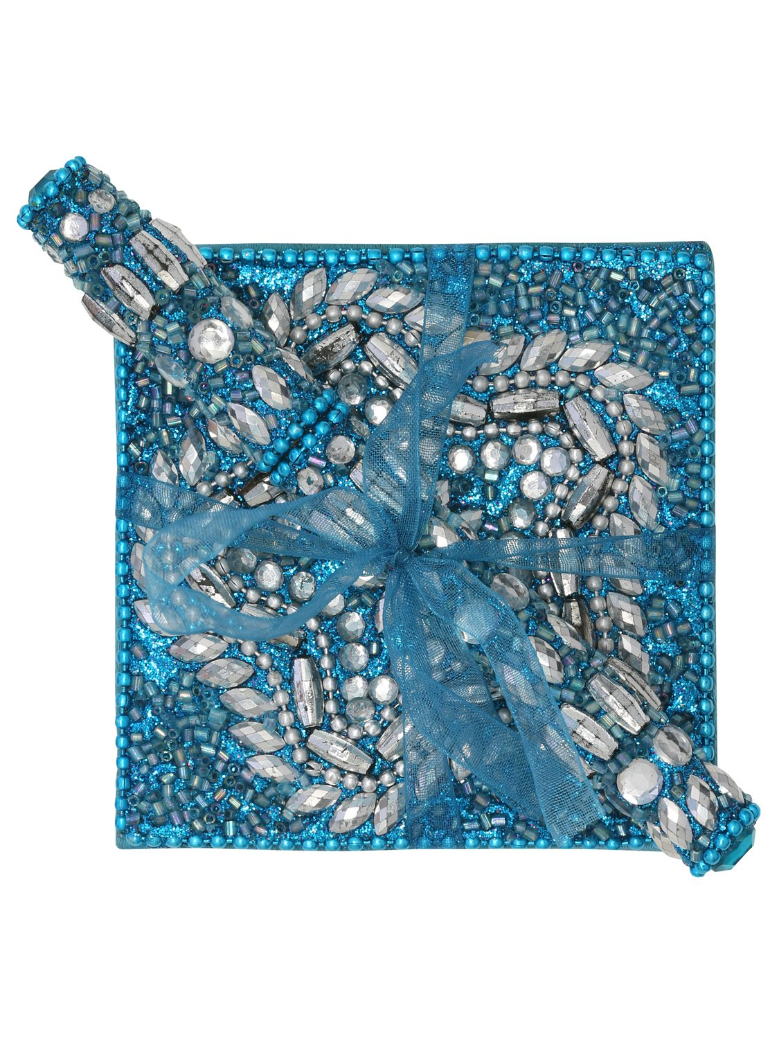 Bead and mirror detail Embellished shellac design Notebook and matching pen ribbon tied gift set - Blue