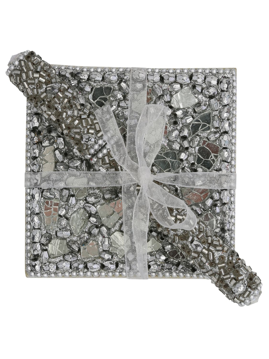 Bead and mirror detail Embellished shellac design Notebook and matching pen ribbon tied gift set - Silver