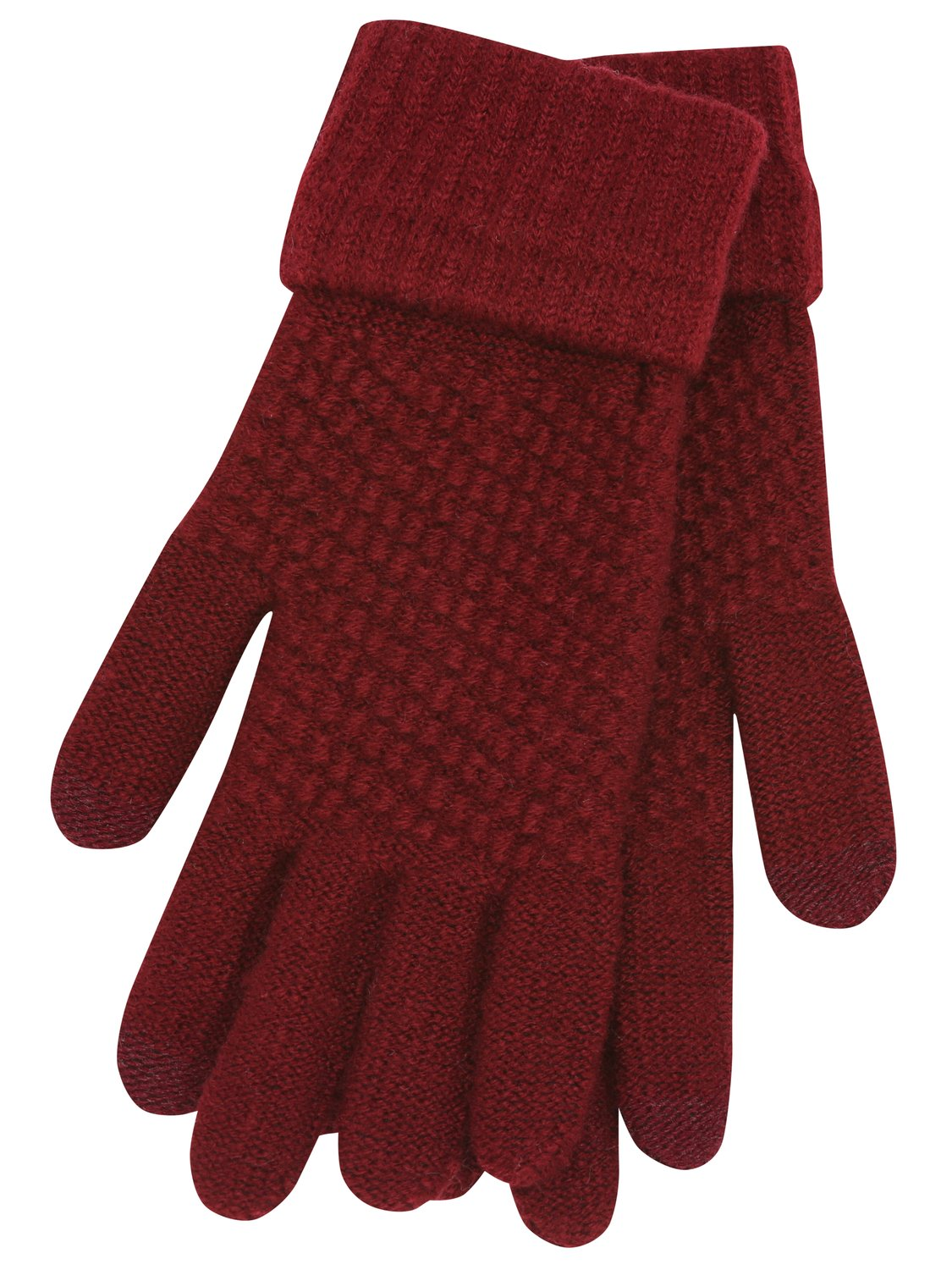 ladies touch screen knitted gloves smart phone and tablet compatible one size stretch fit  - ruby