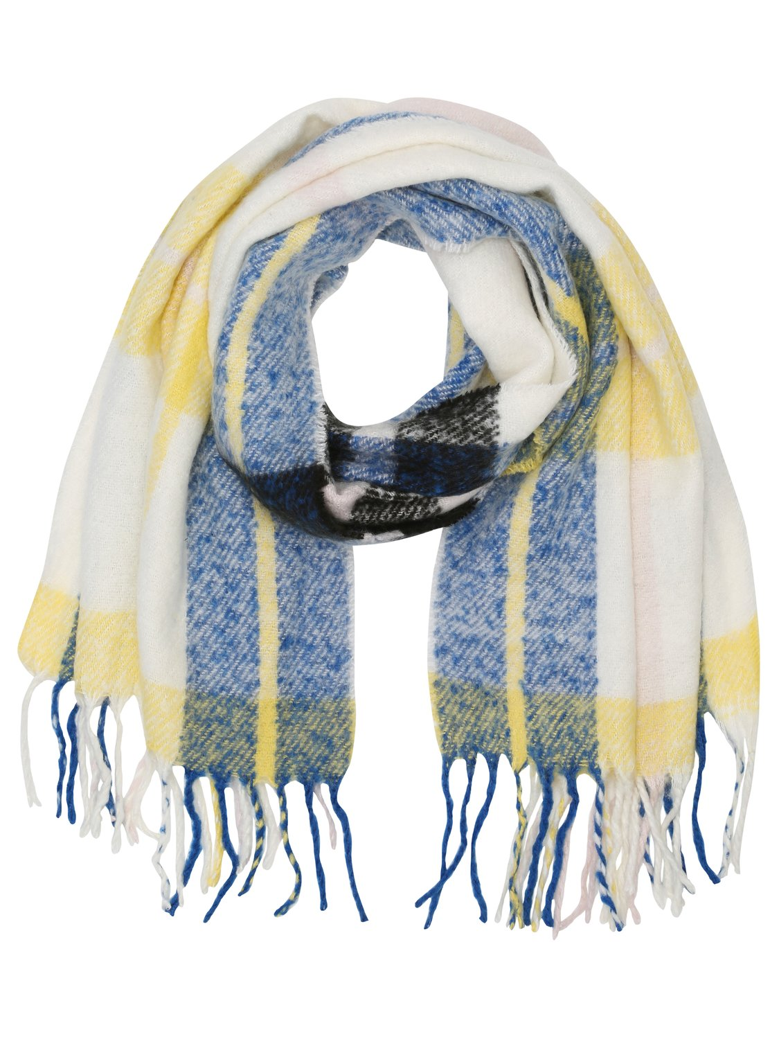 ladies check soft warm brushed fabric scarf 186x56cm  - yellow
