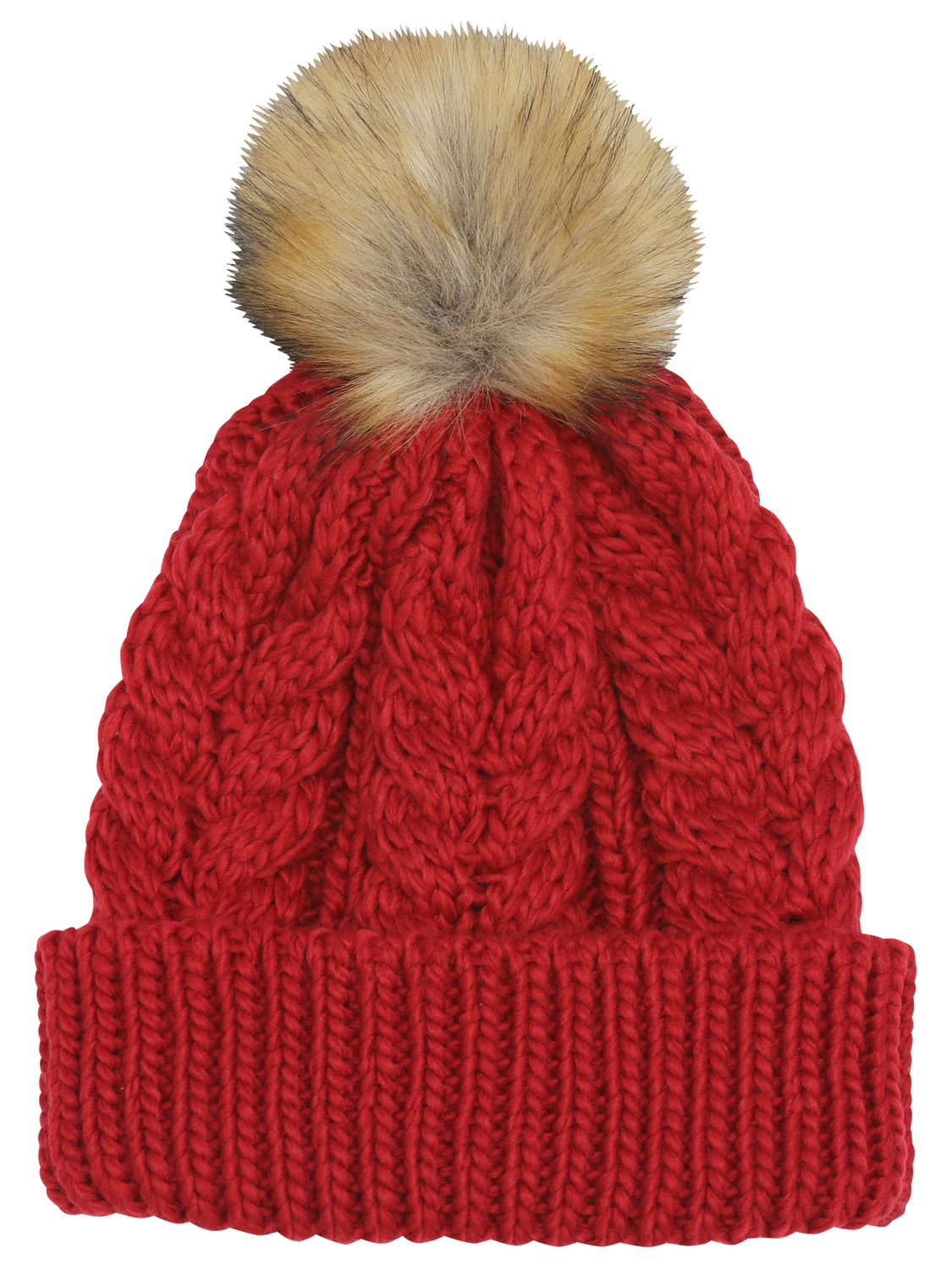 ladies coloured cosy cable knit faux fur pom pom winter bobble hat  - ruby