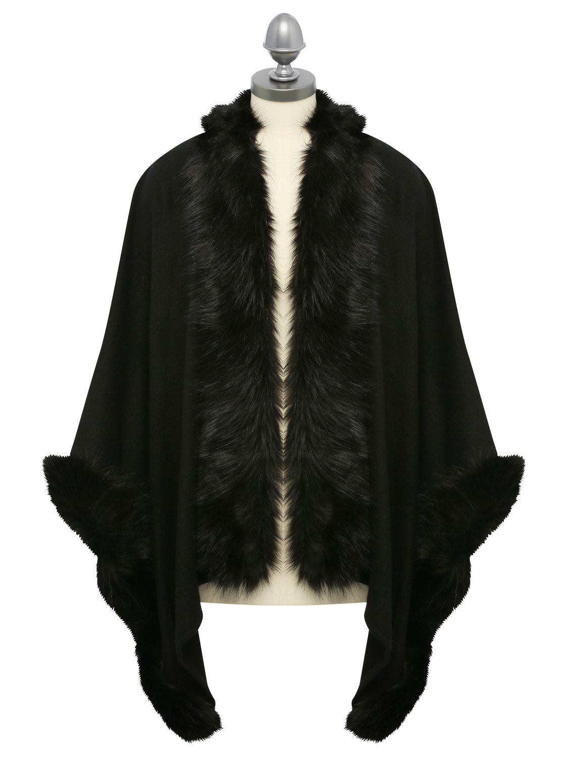ladies luxe knitted faux fur wrap shawl stole  - black