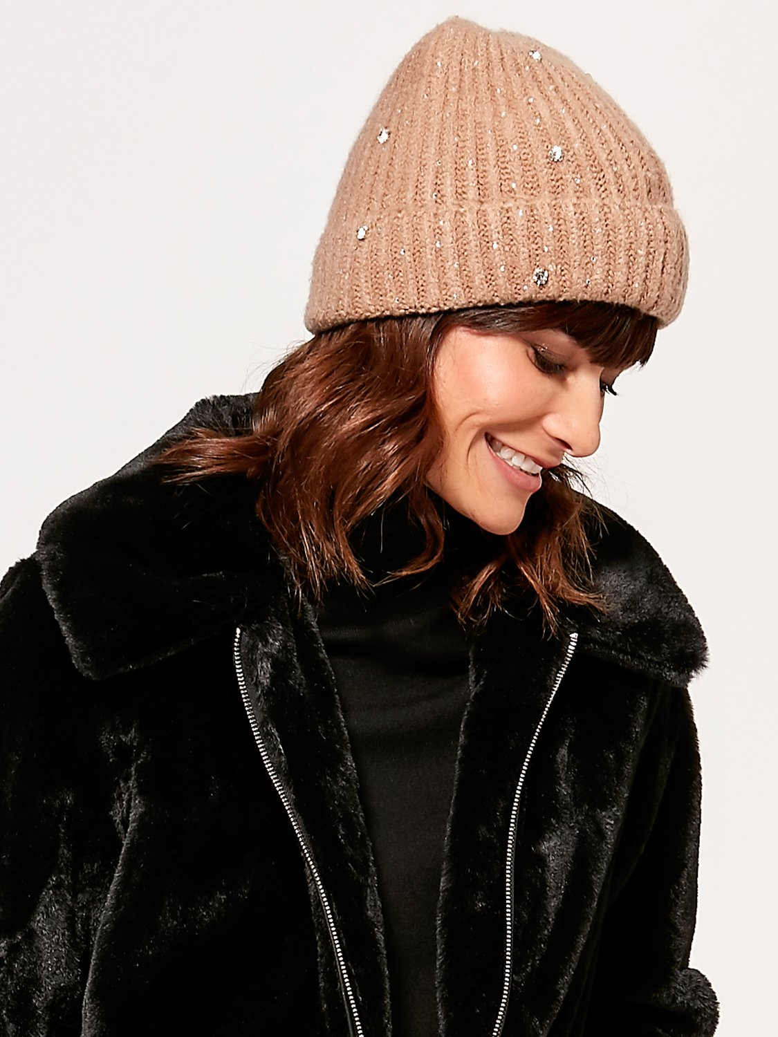 ladies knitted hat with diamante embellishment  - natural