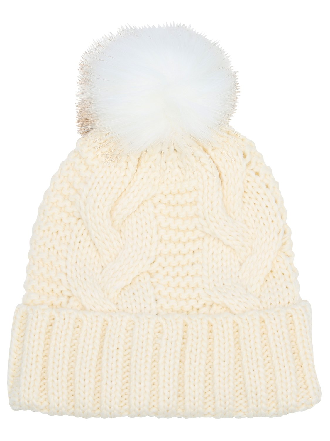 Ladies plain cable knit pom pom hat turn up trim fluffy faux fur pom pom  - Ivory