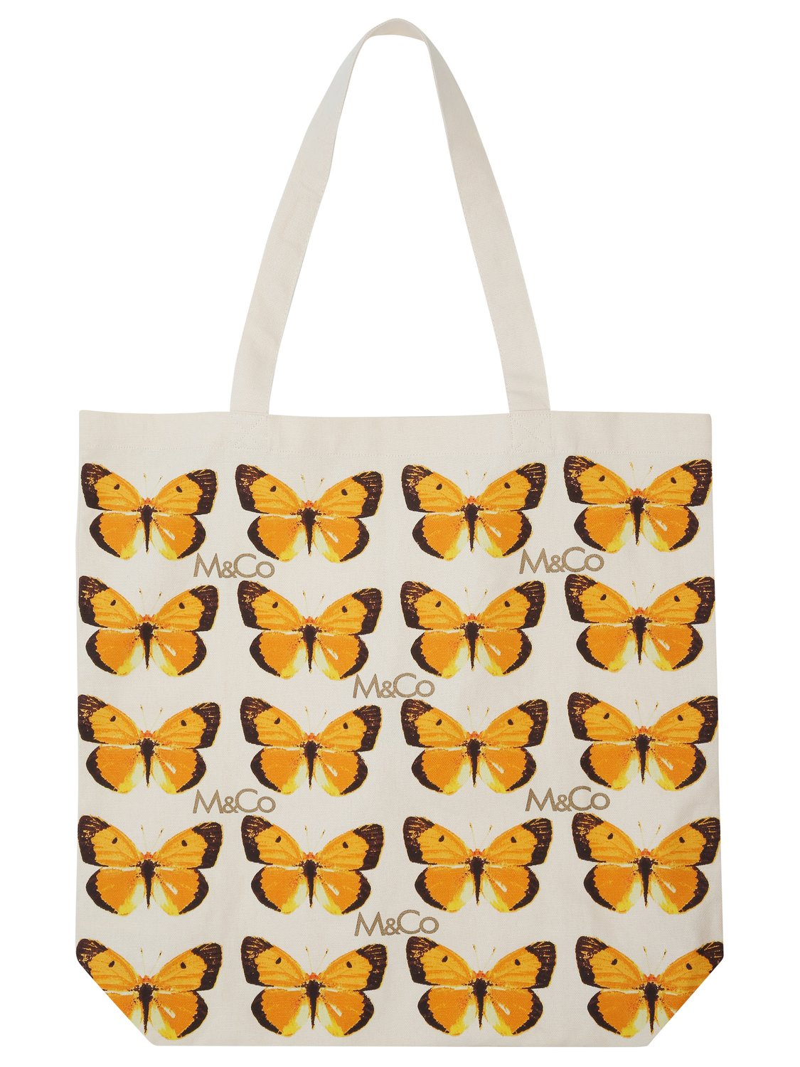 Canvas bag for life with butterfly print - Natural