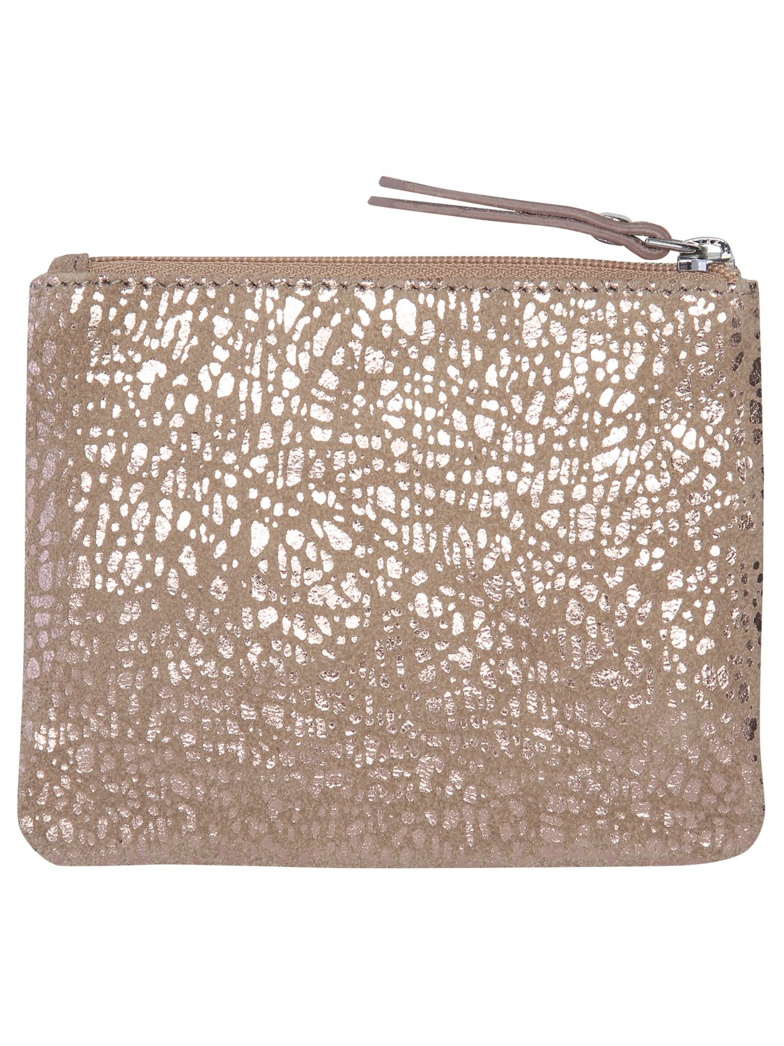 Coin purse in real leather wth rose gold foil textured print - Rose