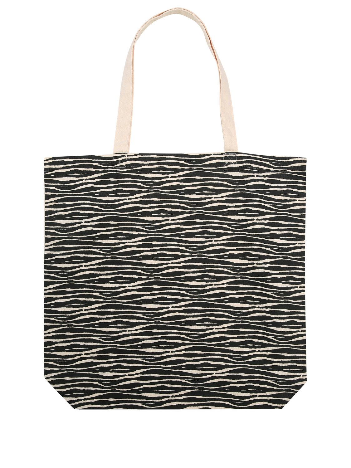 Canvas shopping bag with zebra print bag for life 100% cotton - Natural