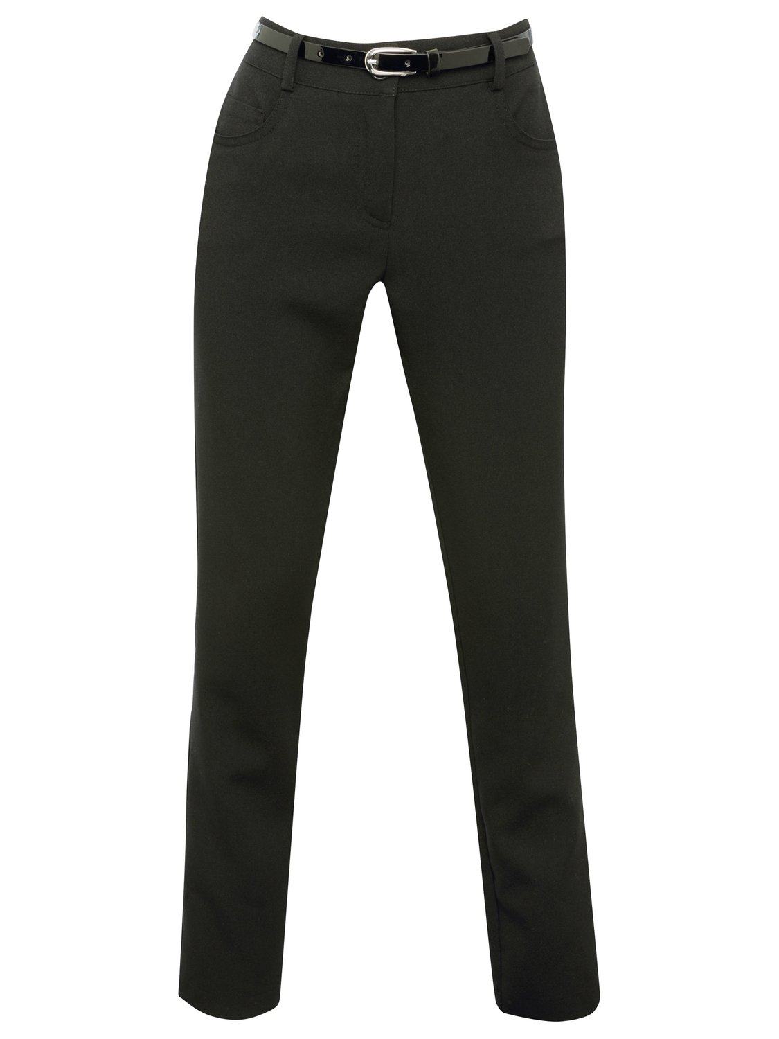 Teen girls black Belted light stretch pocket detail zip fastening school trousers with a patent belt   Black