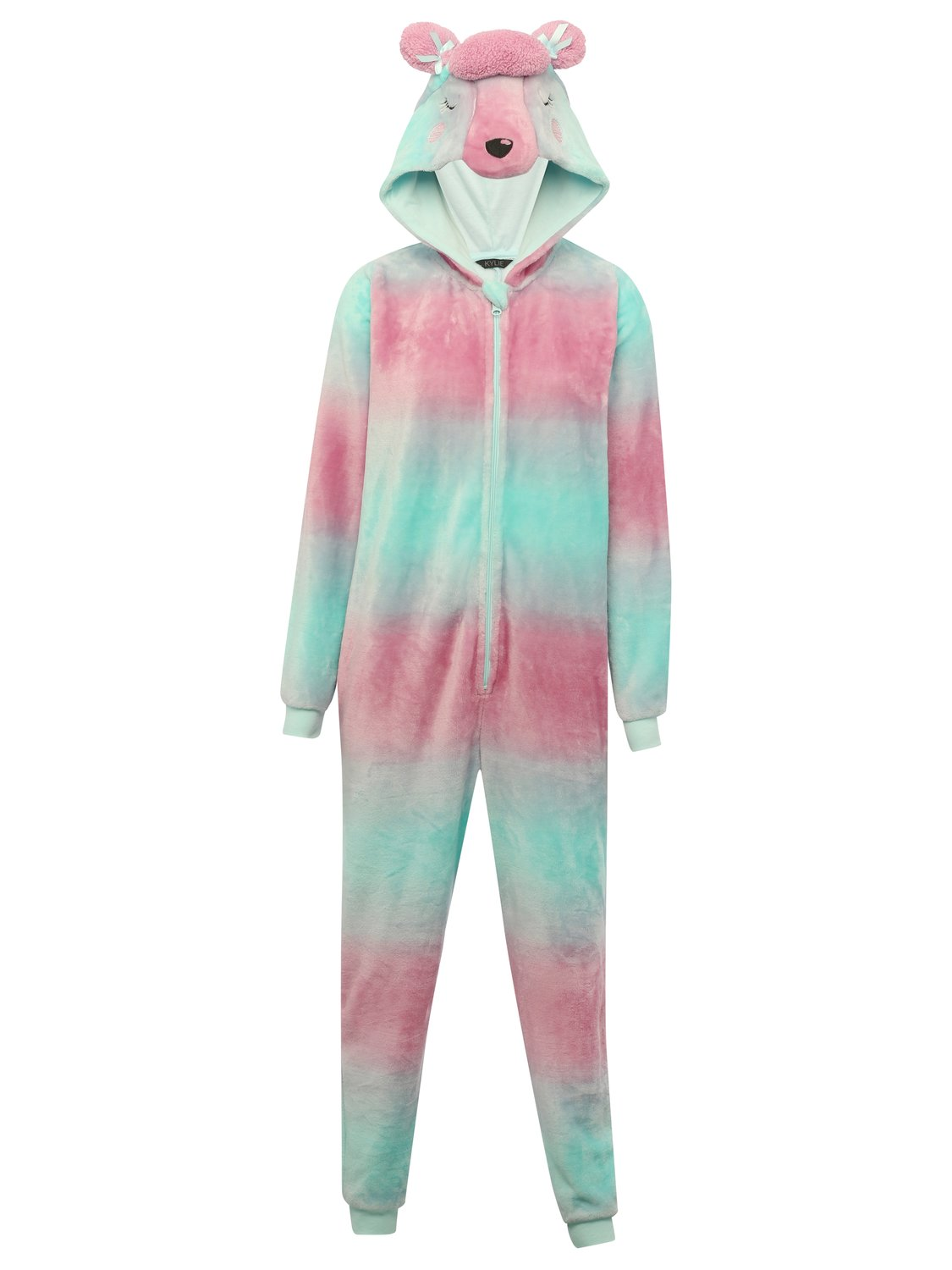 Teen girl pink and blue long sleeve zip front cuffed 3D poodle face hooded fleece pyjama onesie  - Multicolour
