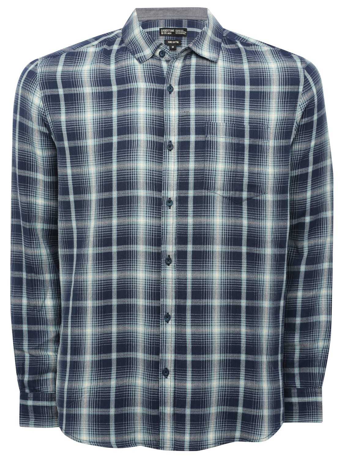 Image of Mens long sleeve 100% cotton soft check pattern button up collar casual shirt - Blue