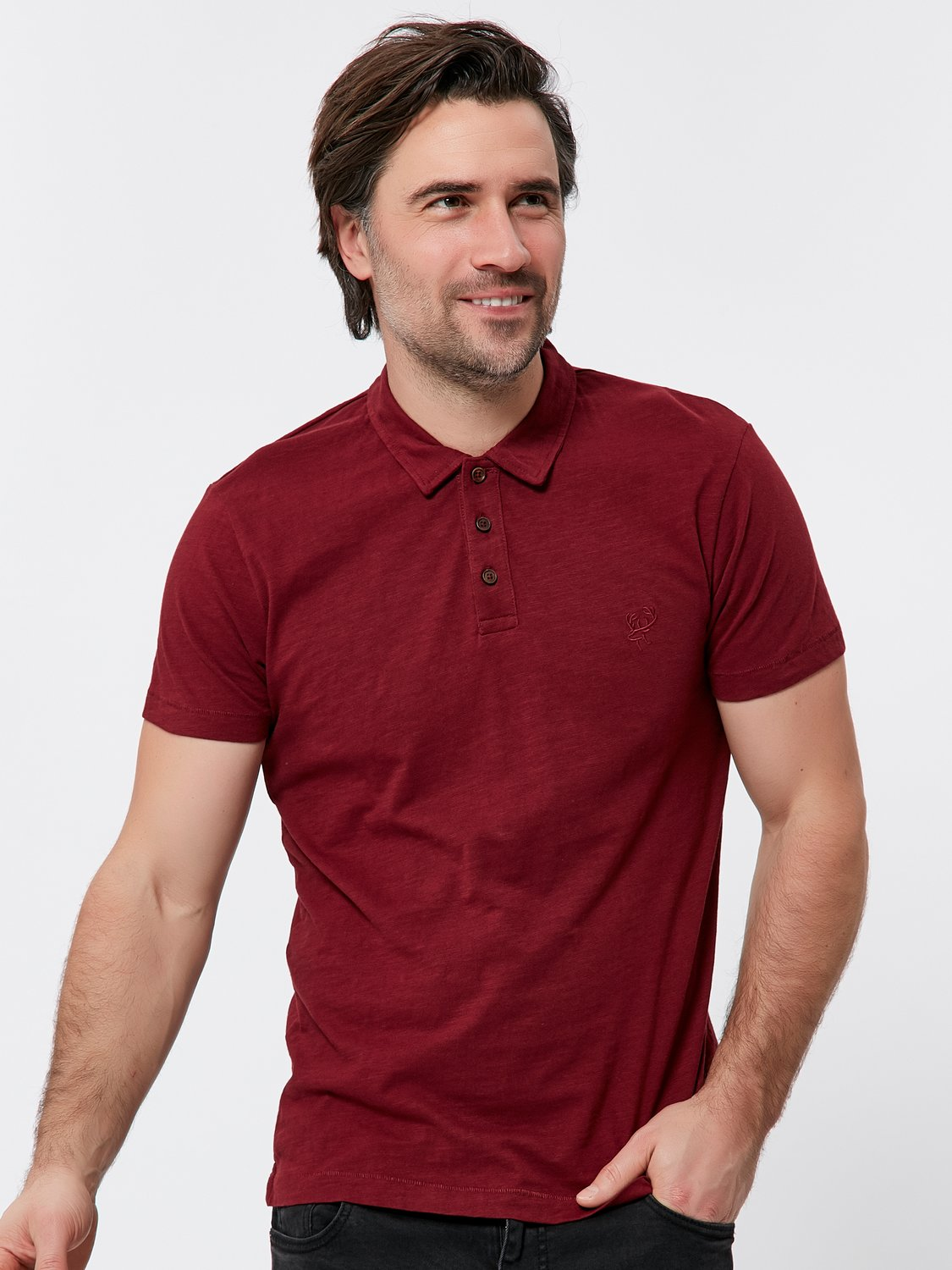 Short Sleeve Polo Shirt - Wine Red