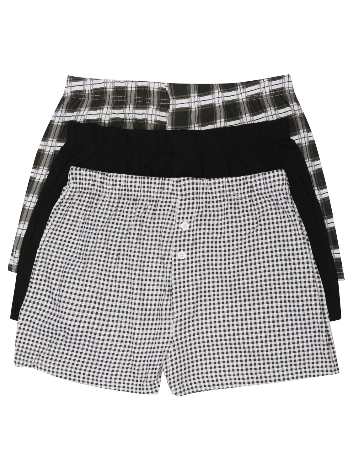 Image of Mens 100% Cotton Mixed Check Print And Plain Black Button Front Boxer Shorts - 3 Pack - Black