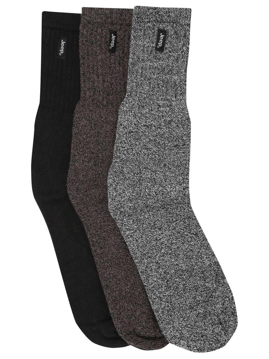 Image of Jeep Urban Trail Cushioned Soles Ribbed Ankle Cotton Rich Socks - 3 pack - Black