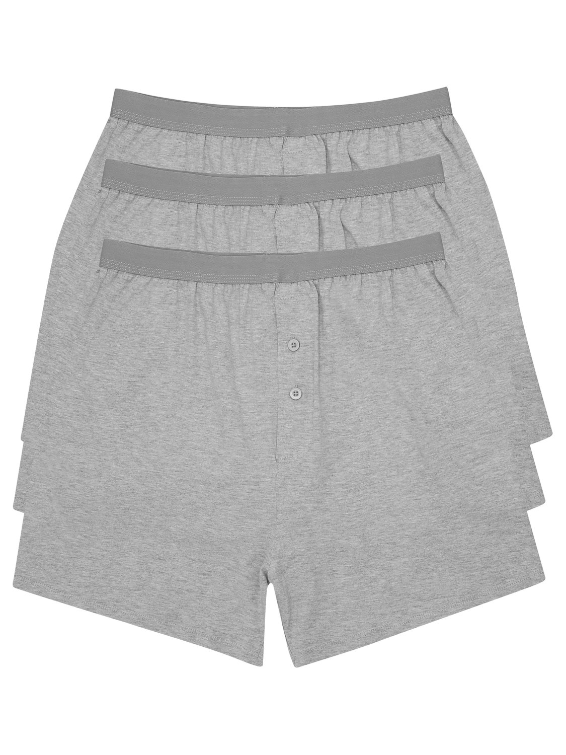 Mens plain boxer shorts cotton jersey boxers three pack  - Grey