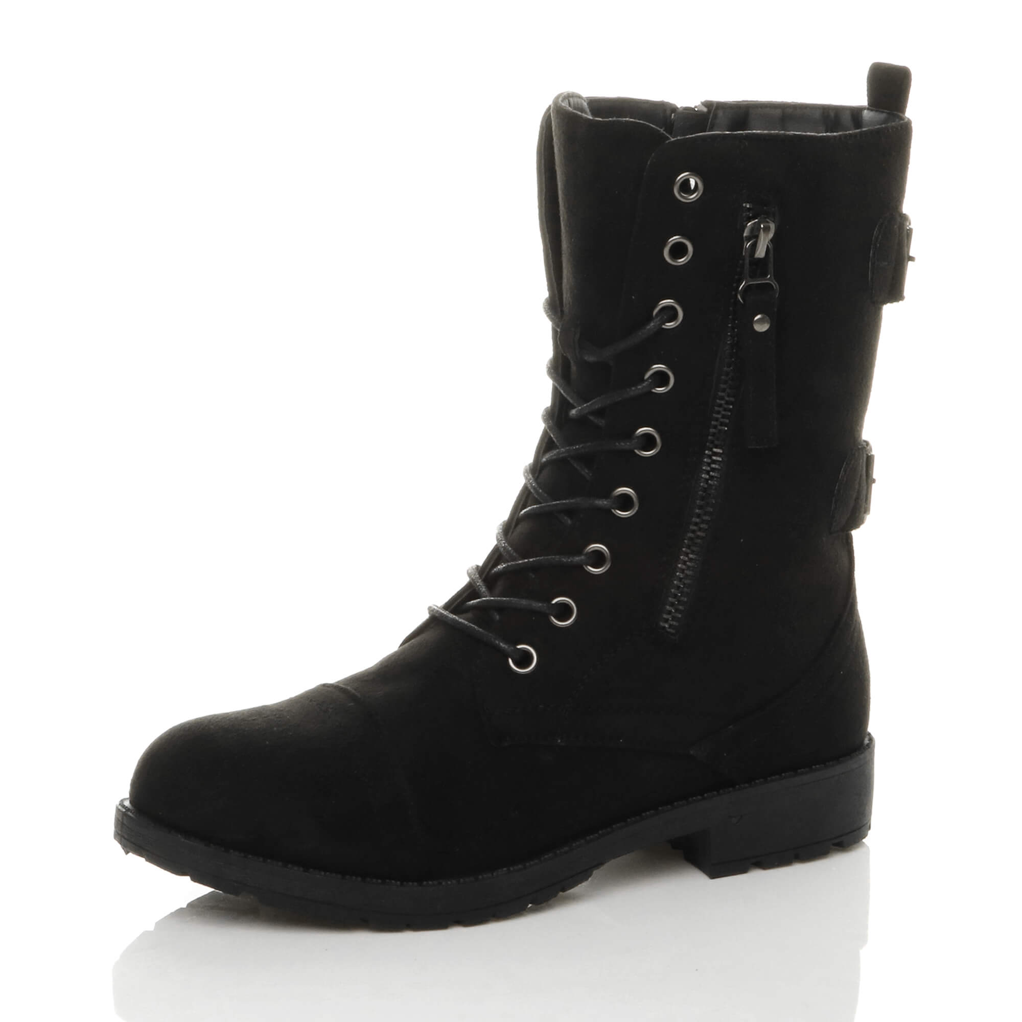 WOMENS-LADIES-LACE-UP-ZIP-PUNK-BIKER-COMBAT-WORKER-MILITARY-ARMY-ANKLE-BOOTS