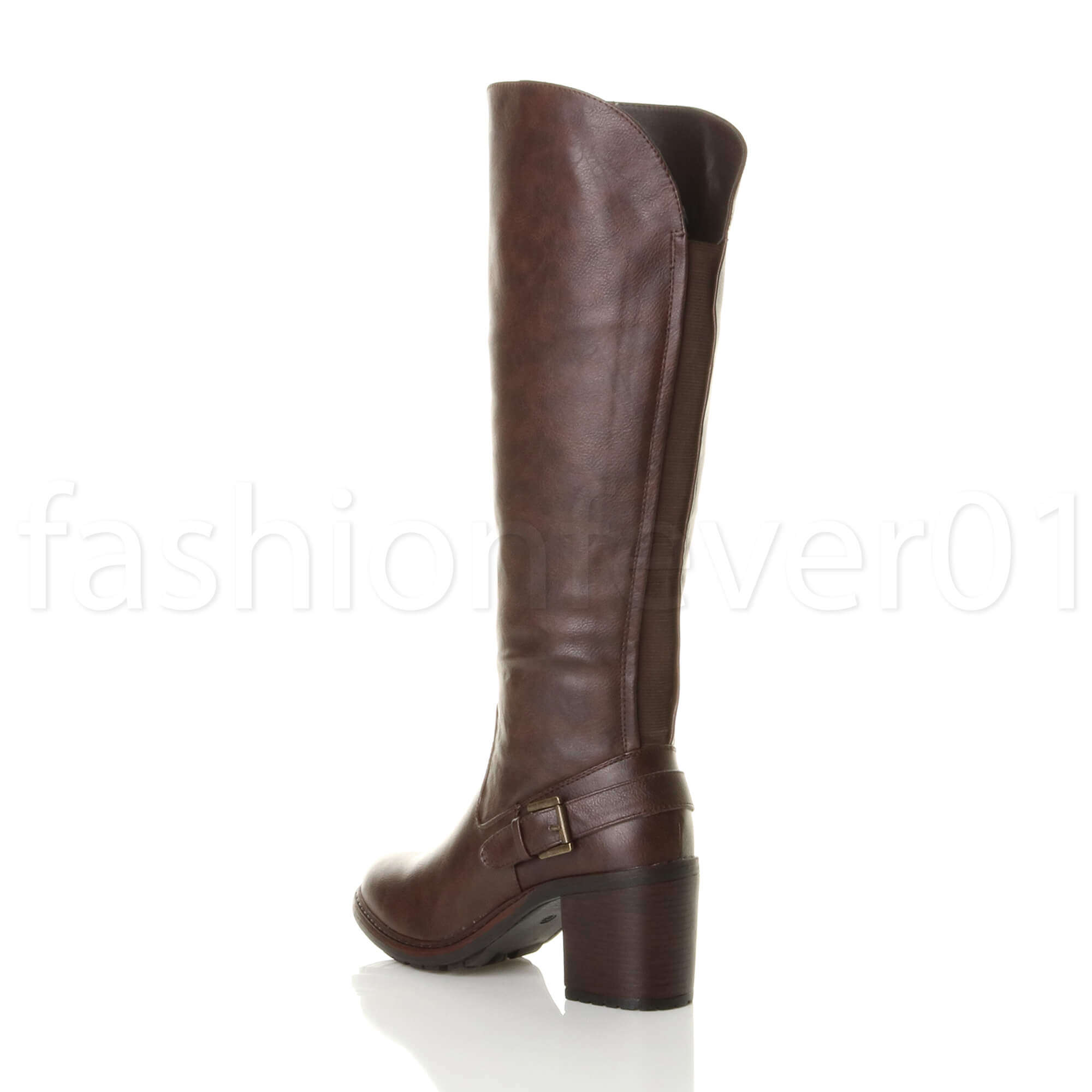 WOMENS-LADIES-BUCKLE-LOW-MID-HIGH-BLOCK-HEEL-ZIP-WINTER-CALF-KNEE-BOOTS-SIZE