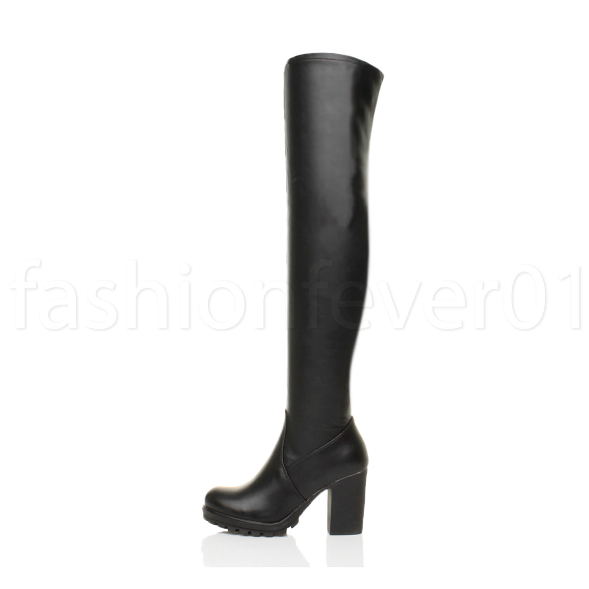 151378c205f83 WOMENS LADIES CHUNKY BLOCK HEEL STRETCH OVER THE KNEE THIGH HIGH ...