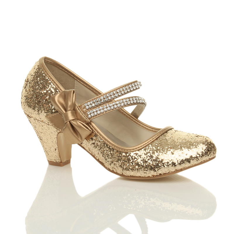 Childrens Gold Sparkly Shoes With Heels