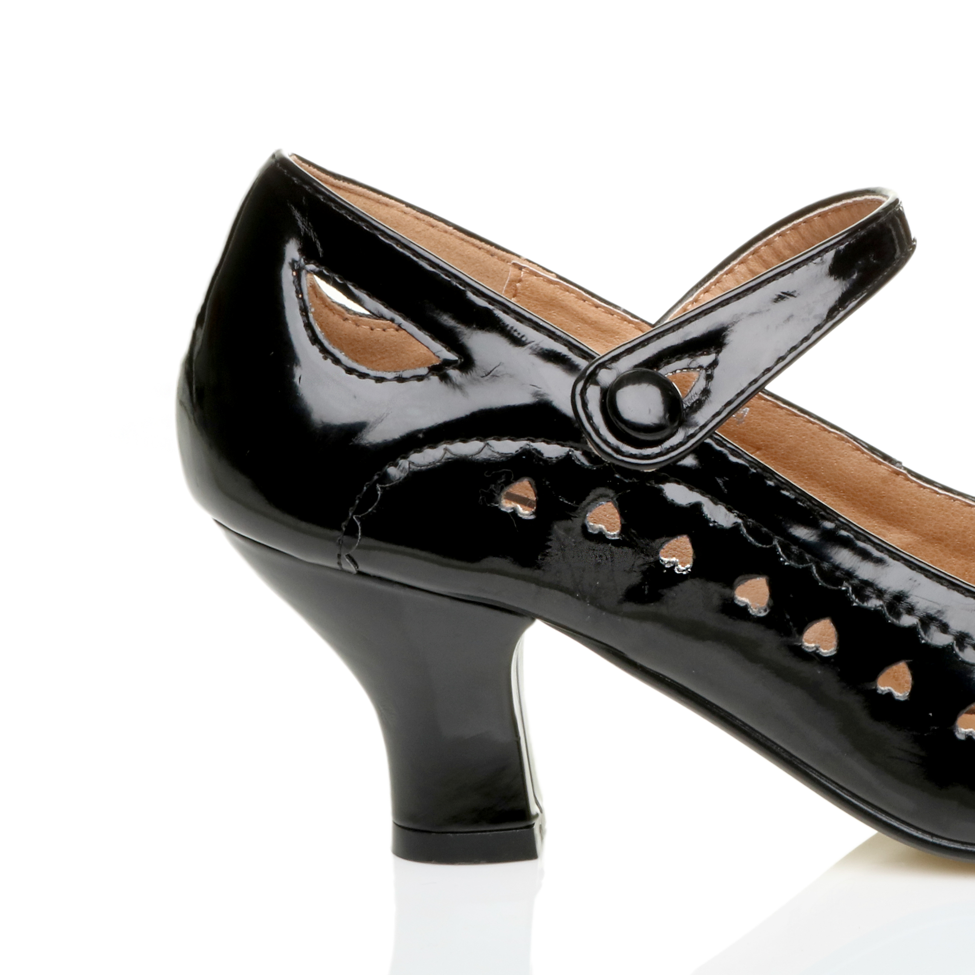 WOMENS LADIES LOW HEEL ANKLE STRAP MARY