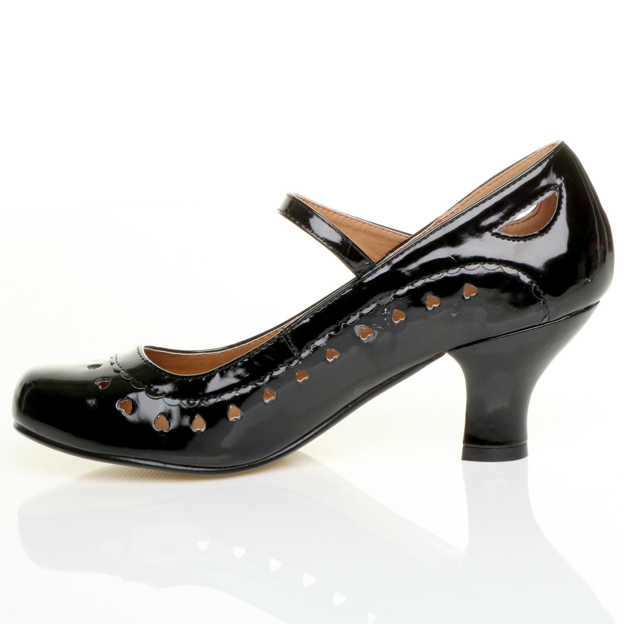 miniatura 13 - Da Donna con Tacco Basso Cinturino Alla Caviglia Mary Jane Stile Scarpe Eleganti Lavoro Pompe Dimensione
