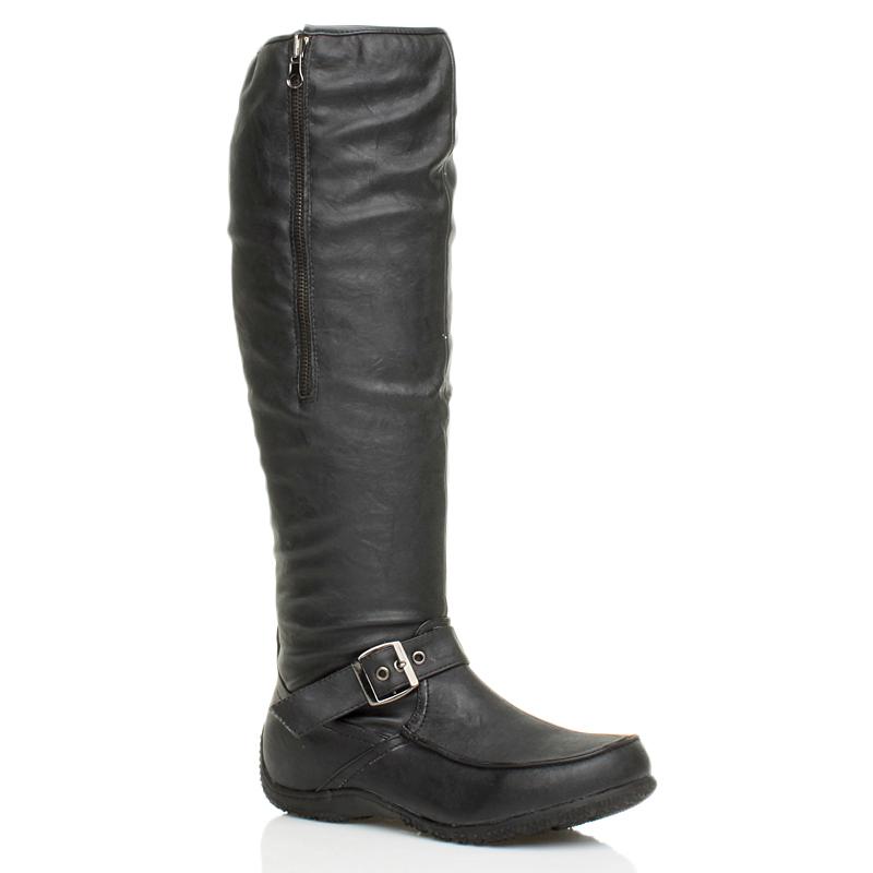 d5d16bae4bd Womens Ladies Winter Fur Lined Flat Low Mid High Heel Buckle Knee ...