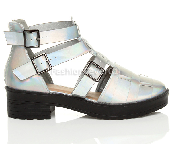021a43fd131f WOMENS LADIES BLOCK CHUNKY STRAPPY PLATFORM CUT OUT BUCKLE ANKLE ...