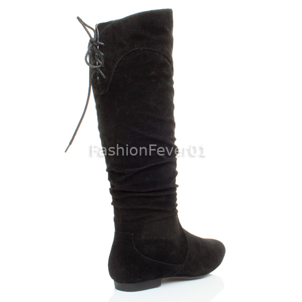 WOMENS-LADIES-FLAT-FOLD-OVER-CUFF-KNEE-HIGH-SLOUCH-ZIP-BIKER-RIDING-BOOTS-SIZE