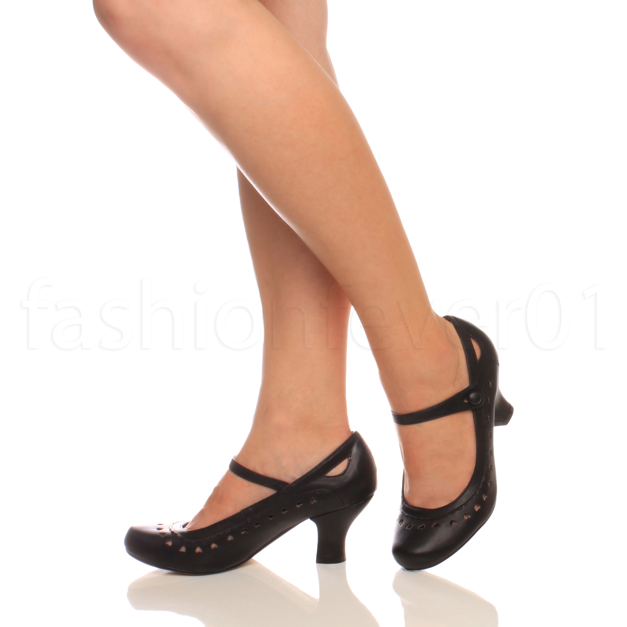 Black Leather Mary Jane Court Shoes