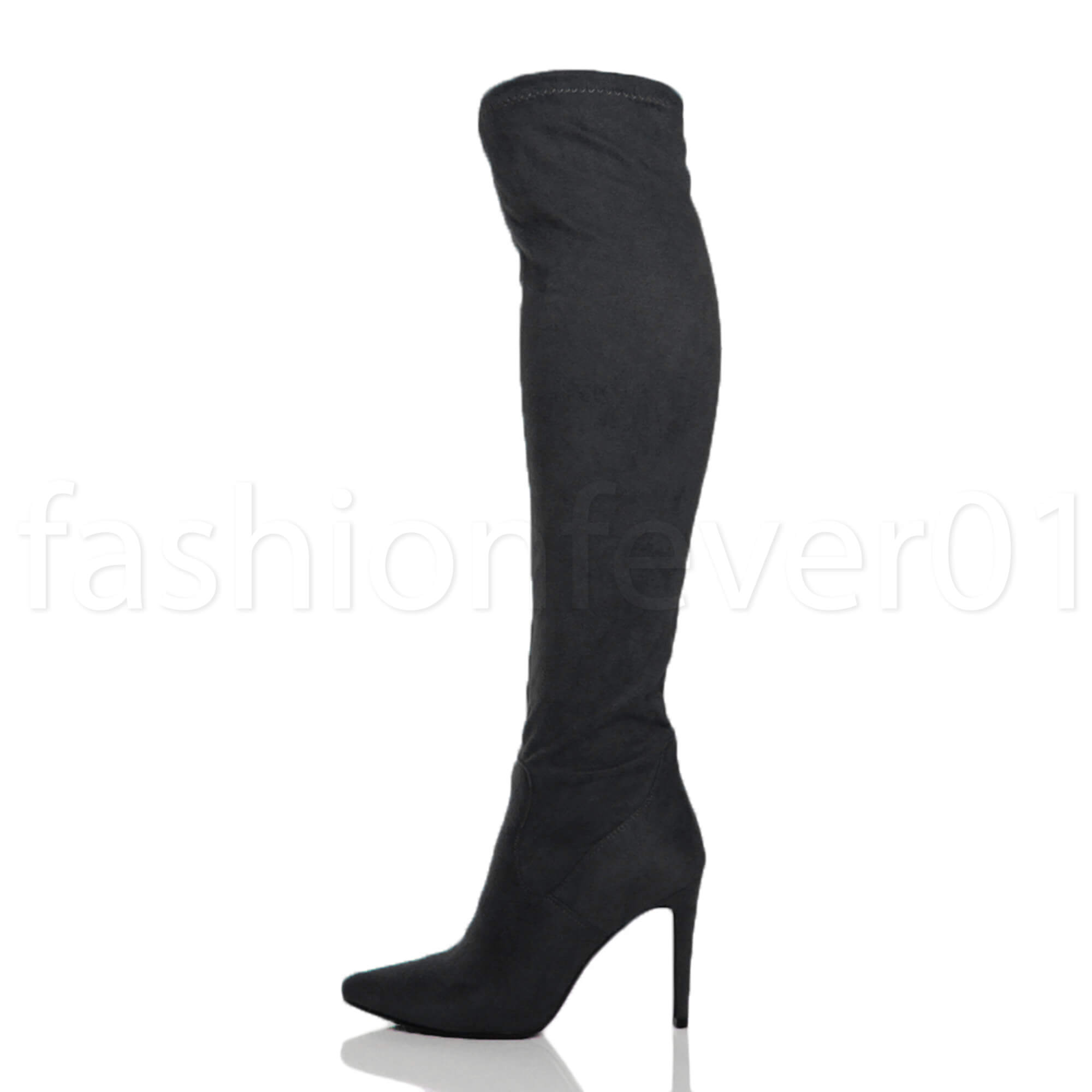 ad929ac66e1 Womens Ladies High Heel Pointed Over The Knee Stretch Thigh BOOTS ...