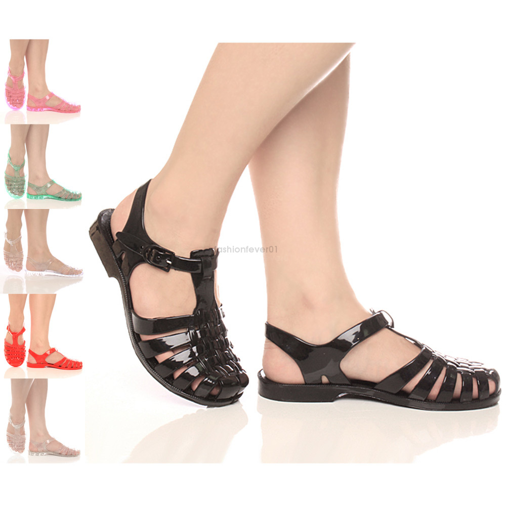 96a8dfea3918 Image is loading WOMENS-LADIES-FLAT-JELLY-RUBBER-RETRO-CAGED-SANDALS-