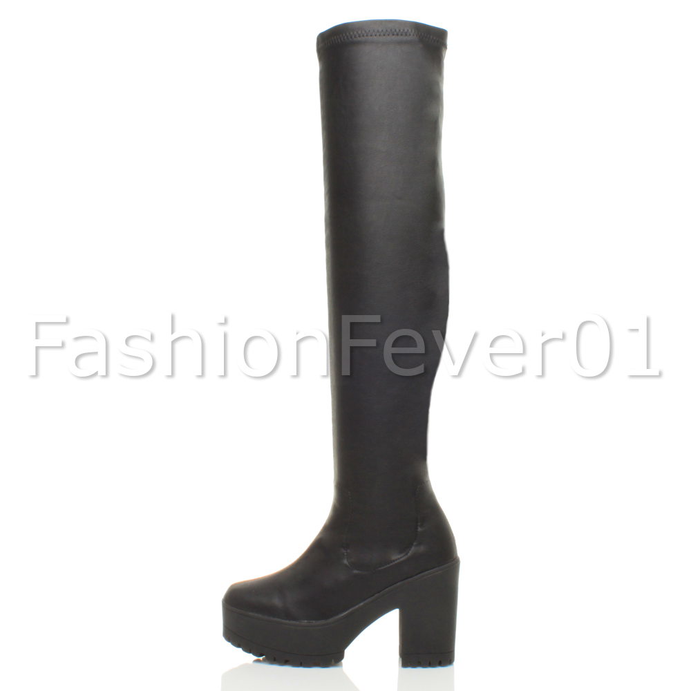 be24a52ab0e WOMENS LADIES CHUNKY BLOCK HEEL STRETCH OVER THE KNEE THIGH HIGH ...