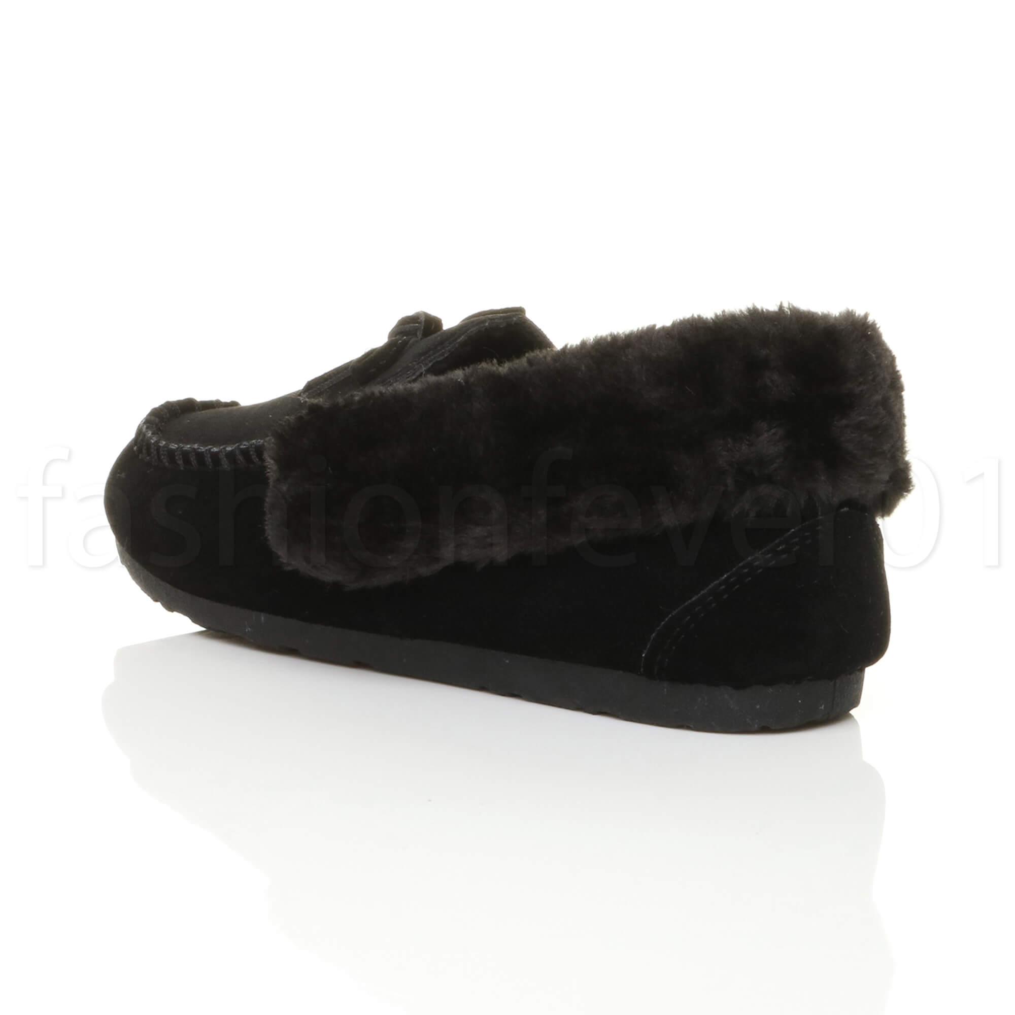 Donna-Caldo-pelliccia-con-collare-Legare-SCARPE-DA-BARCA-MOCASSINI-PANTOFOLE-MIS